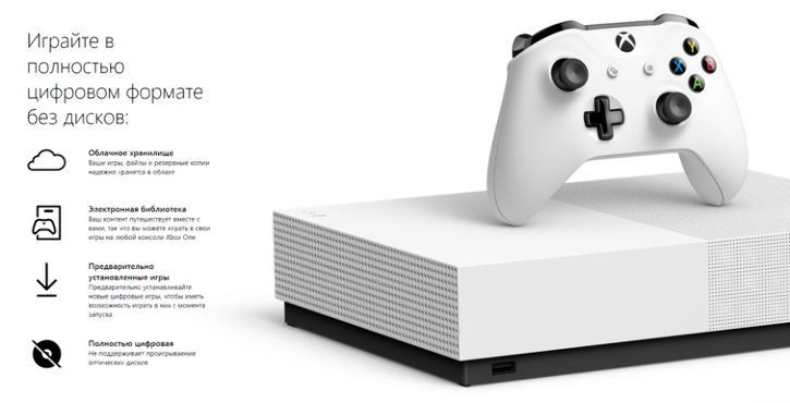 Бесприводная консоль Xbox One S All-Digital Edition сегодня поступила в продажу